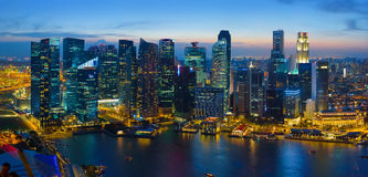 Singapore downtown at night, aerial view Stock Photography