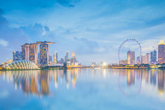 Singapore downtown at night in Singapore city Stock Photography