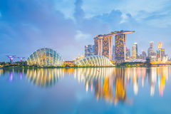 Singapore downtown at night in Singapore city Stock Image