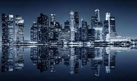 Singapore downtown night view. Panoramic night view of Singapore bussines district Royalty Free Stock Photography