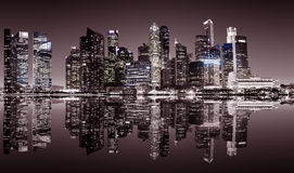 Singapore downtown night view. Panoramic night view of Singapore bussines district in sepia colors Stock Photo