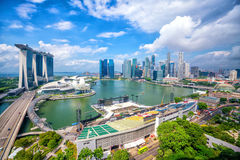 Singapore downtown skyline bay area. With blue sky Royalty Free Stock Photos
