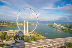 Singapore downtown skyline bay area. Singapore skyline bay area with blue sky Stock Photography