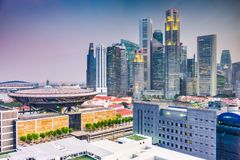 Singapore downtown skyline with the Supreme Court Building royalty free stock photography