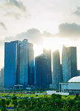 Singapore downtown with sunbeam Royalty Free Stock Images
