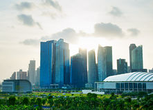 Singapore downtown at sunset Stock Images