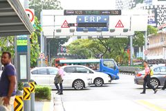 Singapore :  Electronic Road Pricing. ERP , short for Electronic Road Pricing operating in the evening hours Royalty Free Stock Images