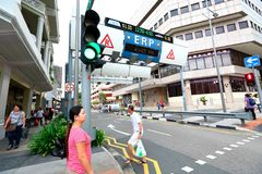 Singapore :  Electronic Road Pricing. ERP , short for Electronic Road Pricing operating in the evening hours Stock Image