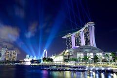 Singapore em a noite Fotos de Stock Royalty Free