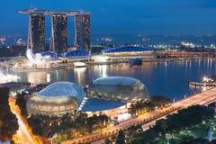Singapore em a noite Fotografia de Stock Royalty Free