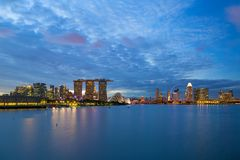 Singapore Entetainment District City Skyline during Blue Hour Royalty Free Stock Photography
