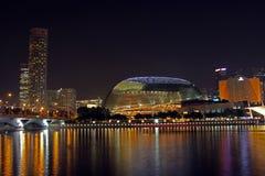 Singapore Esplanade at night. Singapore Esplanade and skyline Royalty Free Stock Image
