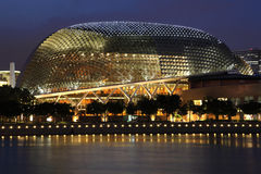 Singapore Esplanade Theater. At night, view from merlion park Royalty Free Stock Photo