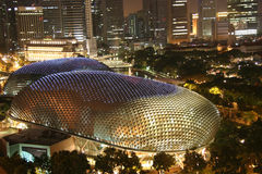 Singapore Esplanade Theater. In evening Royalty Free Stock Photo
