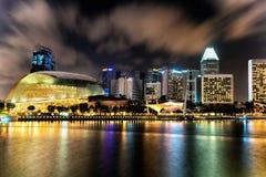 Singapore Esplanade Theater at Marina Bay at night Stock Photos