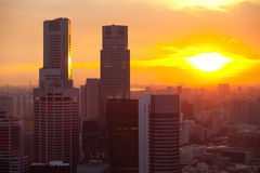 Singapore in the evening at sunset. Royalty Free Stock Image