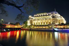 singapore för cbdfullertonhotell horisont Royaltyfri Foto