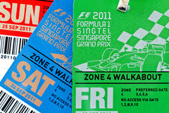Singapore F1 Night Race passes Sept 2011 Royalty Free Stock Images