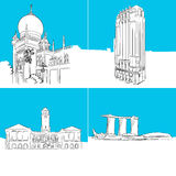 Singapore Famous Buildings Vector Sketches Stock Image