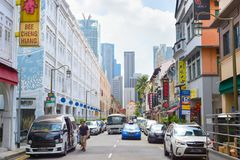 Singapore Chinatown car road street Royalty Free Stock Photo