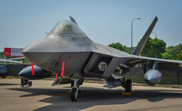 F-22 Raptor aircraft in Changi, Singapore stock image