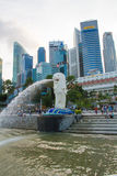 SINGAPORE-Feb 7, 2015: The Merlion fountain in Singapore Royalty Free Stock Photo
