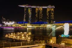SINGAPORE-Feb 7, 2015: The Merlion fountain in Singapore Stock Photos