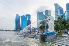 SINGAPORE-Feb 7, 2015:The Merlion fountain in Singapore Stock Photo