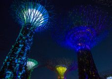 Gardens by the Bay in Singapore. SINGAPORE - FEB 22 : Supertrees in Gardens by the Bay in Singapore on Februery 22 2018. It is a music and light show when trees Stock Photo