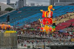 Singapore - Februari 24,2018: Flötet under kinesiskt nytt år arkivbild
