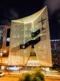 Night view of amazing modern building of Singapore Life Church stock photo