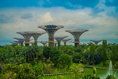 SINGAPORE, SINGAPORE - FEBRUARY 01, 2018: Beautiful outdoor view of the botanical garden, Gardens by the Bay in Royalty Free Stock Photos