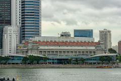 Singapore - February 24, 2018: Fullerton Hotel and Fullerton one, daytime and cloudy exterior royalty free stock images