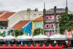 SINGAPORE - FEBRUARY 3 : Large Umbrellas at Clarke Quay in Singa Royalty Free Stock Photography