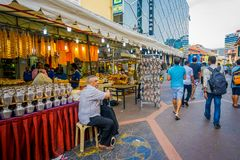 SINGAPORE, SINGAPORE - FEBRUARY 01, 2018: Little India district in Singapore with some people walking in the streets. It. `s Singaporean neighbourhood and Royalty Free Stock Photo