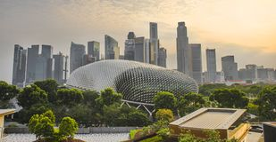 Stunning and impressive cityscape on sunset with Singapore CBD Central business district skyline and Esplanade Theater stock photo