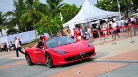 Singapore Ferrari Club Owners showcasing their Ferrari cars during Singapore Yacht Show at One Degree 15 Marina Club Sentosa Cove. SINGAPORE - APRIL 12 Stock Photos