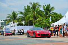 Singapore Ferrari Club Owners showcasing their Ferrari cars during Singapore Yacht Show at One Degree 15 Marina Club Sentosa Cove Stock Photos
