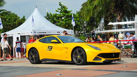 Singapore Ferrari Club Owners showcasing their Ferrari cars during Singapore Yacht Show at One Degree 15 Marina Club Sentosa Cove Royalty Free Stock Photo