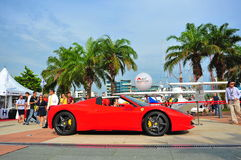 Singapore Ferrari Club Owners showcasing their Ferrari cars during Singapore Yacht Show at One Degree 15 Marina Club Sentosa Cove Stock Photo