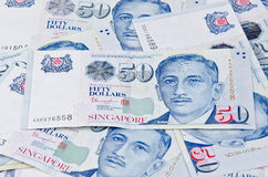 Singapore fifty dollar bills Royalty Free Stock Photo