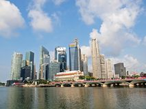 Singapore Financial District. Photo is suitable for financial news/reports magazines, journals concerning Singapore Stock Photo