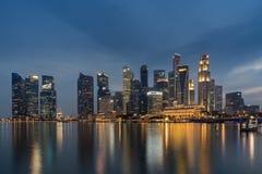 Singapore financial District across Marina bay Stock Photos