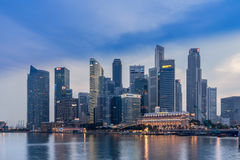 Singapore financial District across Marina bay Stock Images