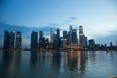 Singapore Financial District CBD Skyline Reflection at Night Royalty Free Stock Photos