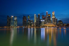 Singapore Financial District CBD Skyline Reflection at Night Stock Photography