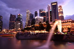 Singapore Financial District from Merlion Park Stock Photos
