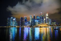 Singapore financial district at the night Royalty Free Stock Images