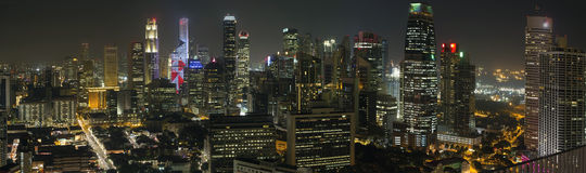 Singapore Financial District Skyline at Night Royalty Free Stock Photo