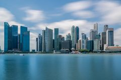 Singapore finansiellt område i det centrala området Fotografering för Bildbyråer